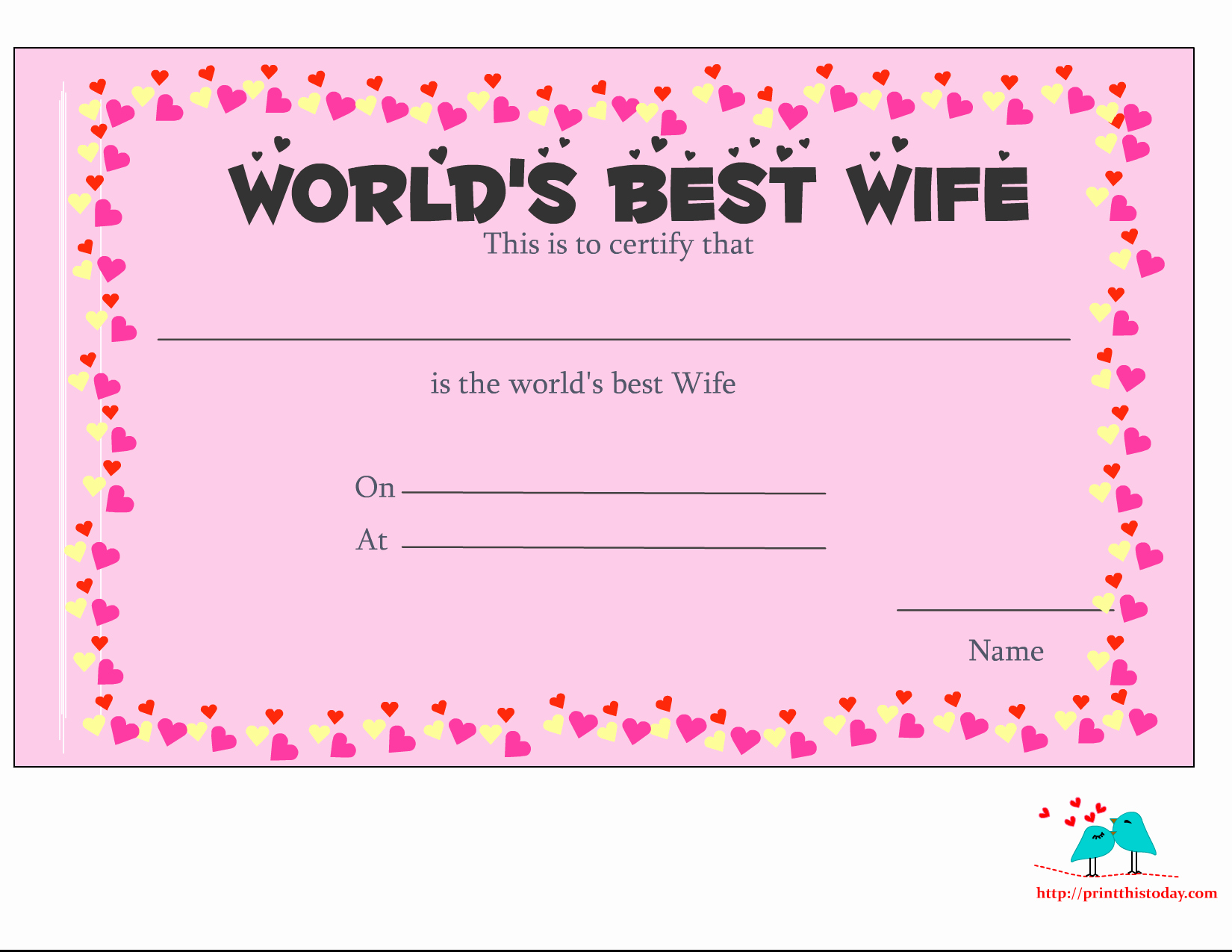 Best Wife In the World Award New Free Printable World S Best Wife Certificates