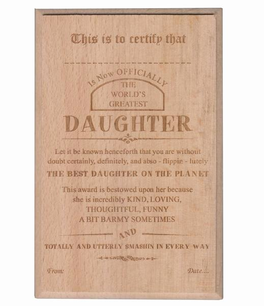 Best Wife In the World Award New Gift for Daughter Best Daughter Certificate Award