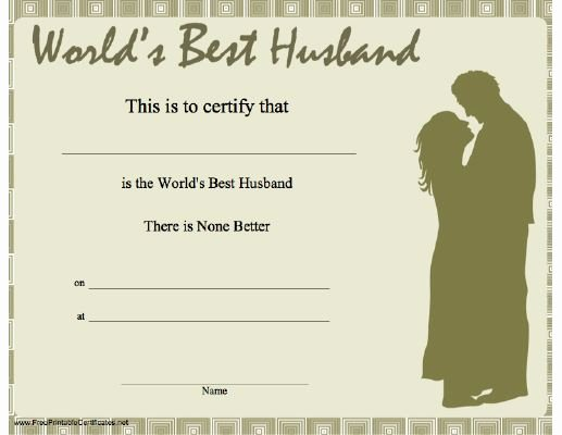 Best Wife In the World Award New This Printable Certificate Shows A Married Couple In