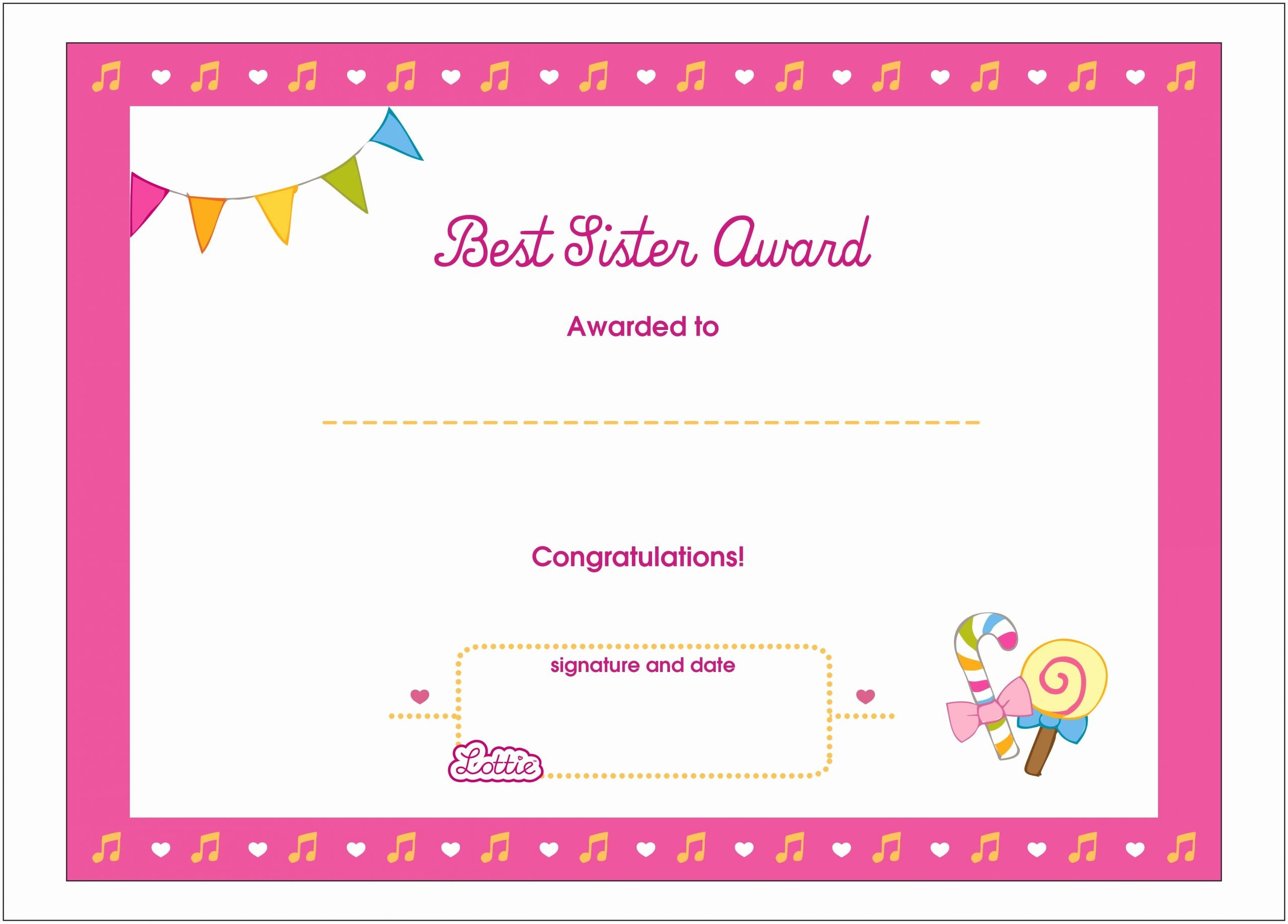 Big Sister Certificate Template Elegant Best Sister Printable Award Certificate – Lottie Dolls