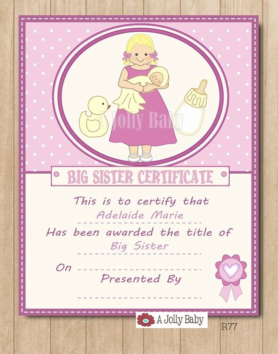 Big Sister Certificate Template Elegant Personalized Big Sister Certificate Digital Printable