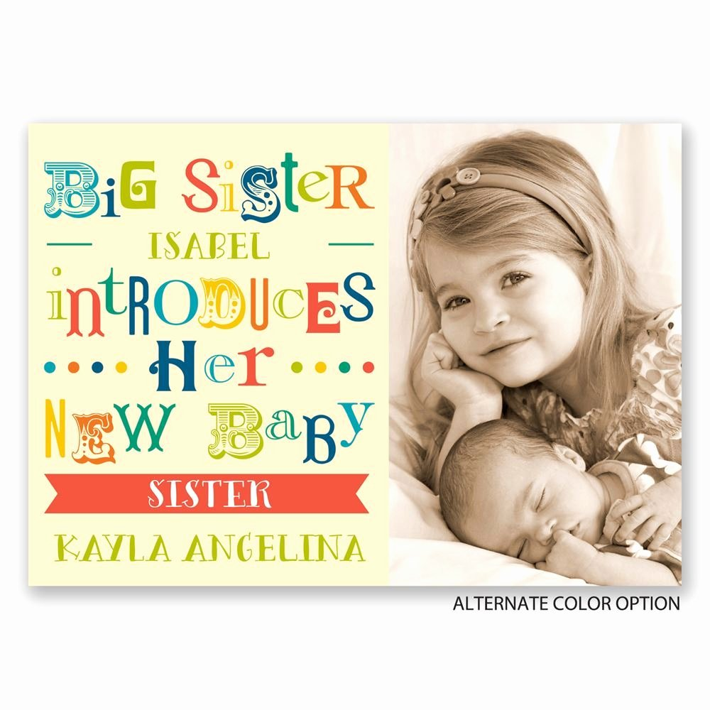 Big Sister Certificate Template Fresh Big Sister Birth Announcement