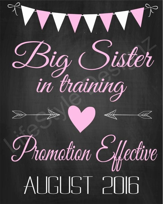 Big Sister Certificate Template Lovely Promoted to Big Sister Chalkboard Pregnancy Announcement