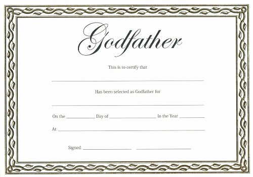 Big Sister Certificate Template Luxury Godfather Certificate Christening or Naming Day Gift for