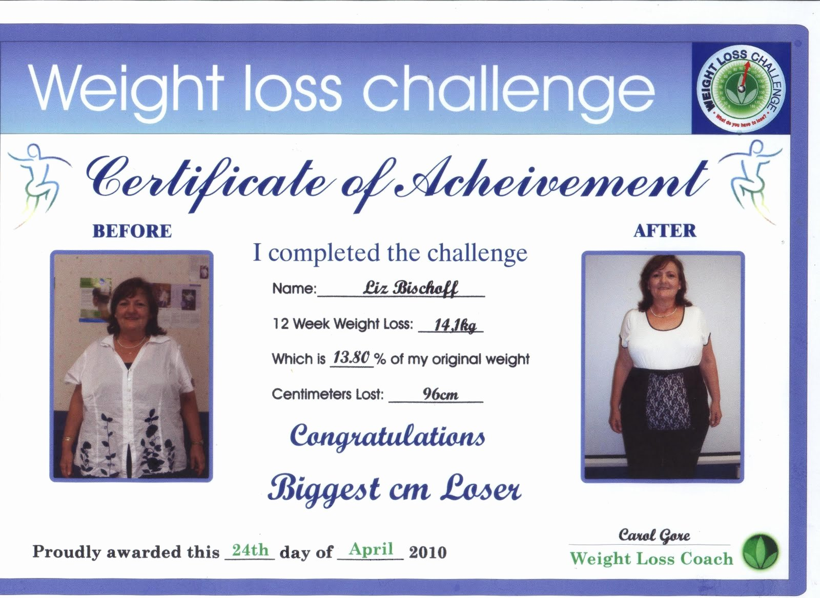 Biggest Loser Certificate Template New Weight Loss Challenge