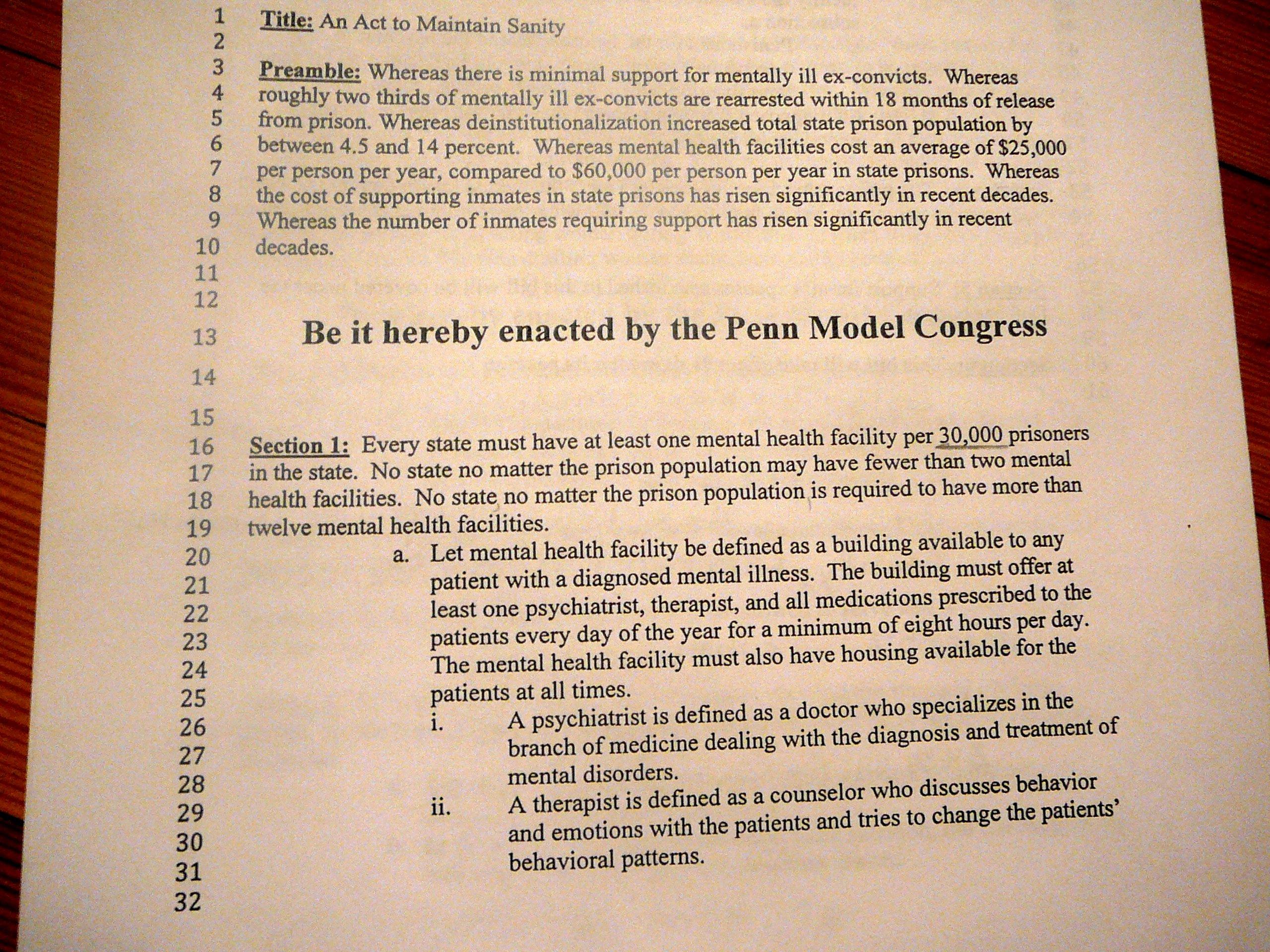 Bill format Congress Fresh Model Congress Bill Example