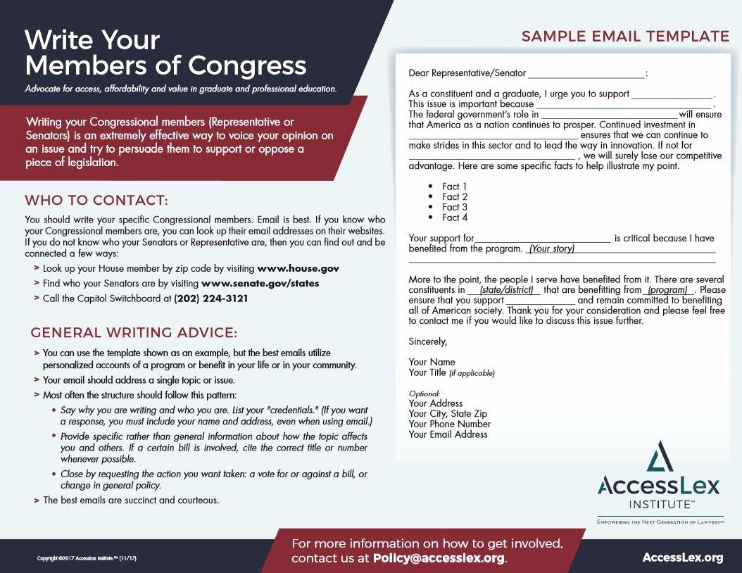 Bill format Congress New Sample Letter to Congressman