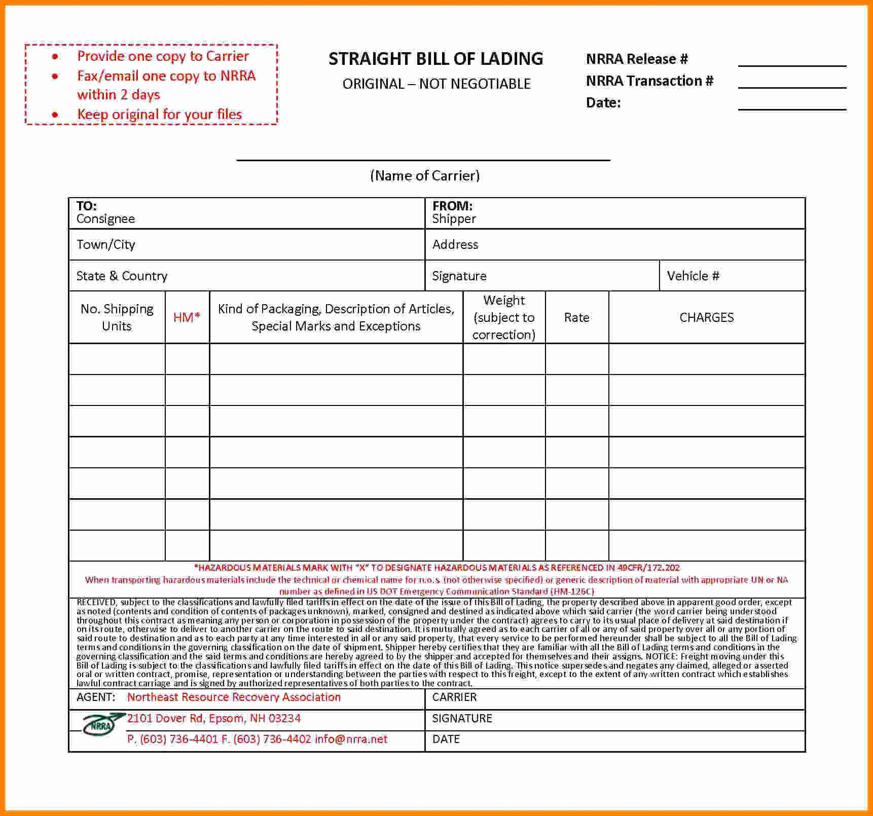 Bill Of Lading Short form Template Beautiful 8 Bill Of Lading Short form Template