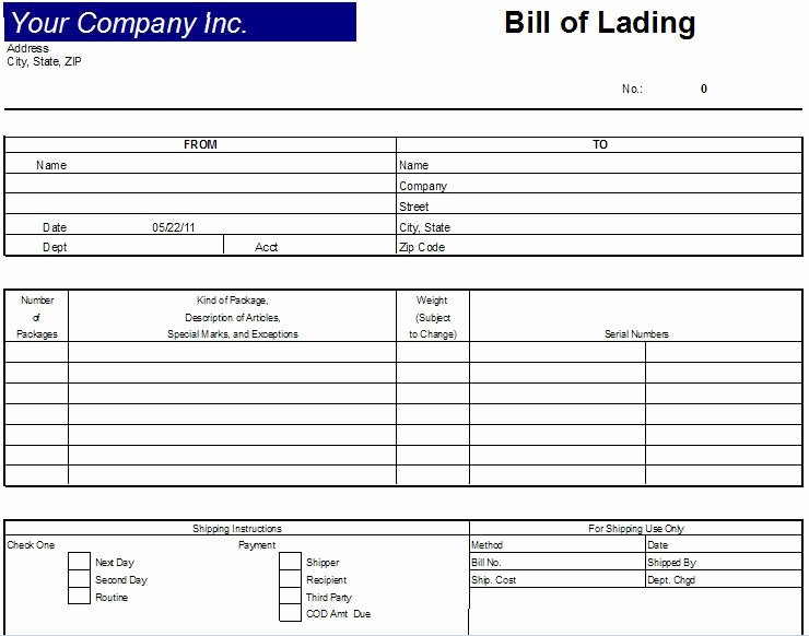 Bill Of Lading Short form Template Inspirational Printable Sample Bill Lading Template form