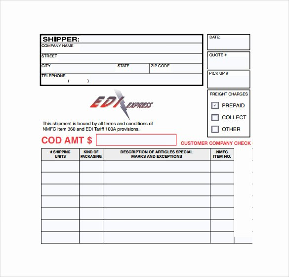Bill Of Lading Short form Template Lovely Sample Bill Of Lading form 9 Download Free Documents In Pdf