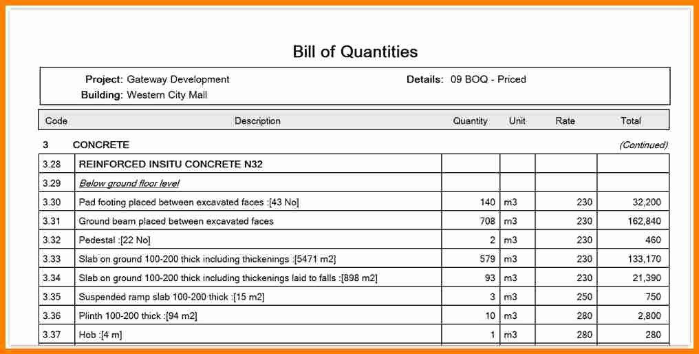 Bill Of Quantities Example Elegant 10 Bill Of Quantity Example