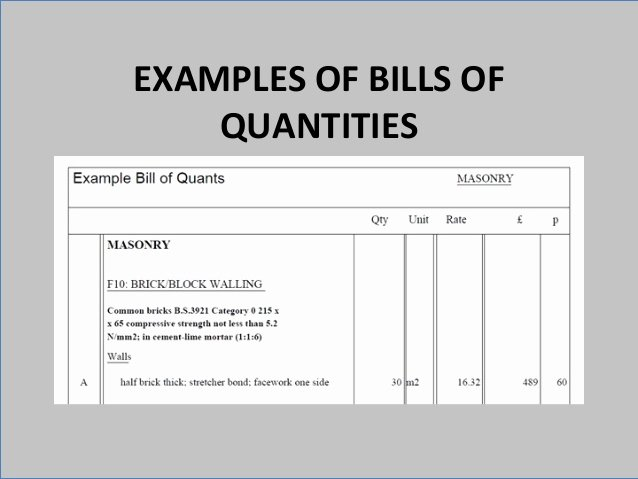 Bill Of Quantities Example Fresh Itd Project One A 4 M