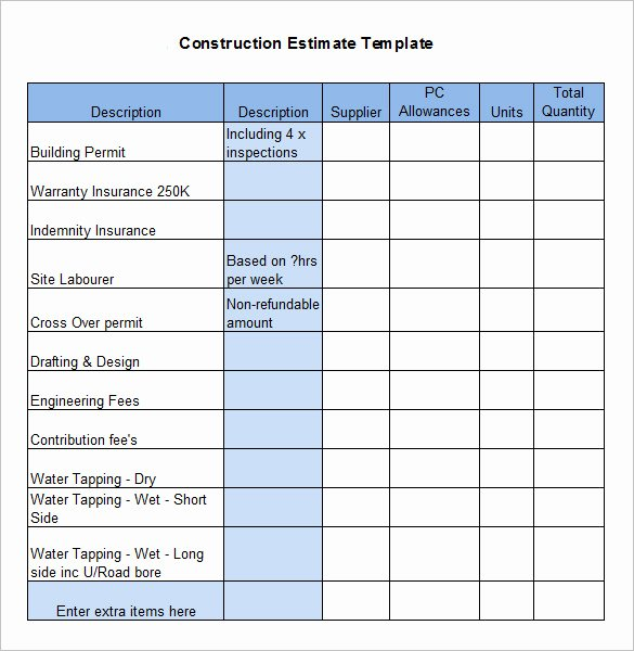 Bill Of Quantities Example New Free Construction Estimate Template Excel