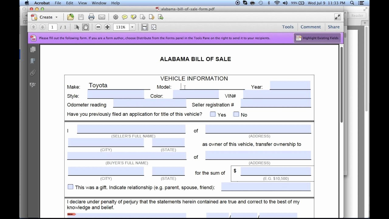Bill Of Sale for Alabama Beautiful Write A Free Alabama Bill Of Sale