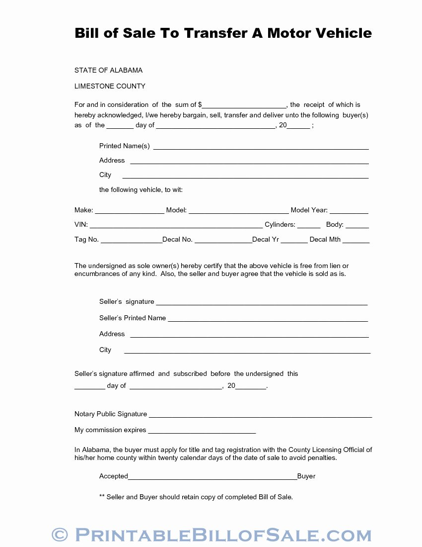 Bill Of Sale for Car In Alabama New Free Limestone County Alabama Vehicle Bill Of Sale form