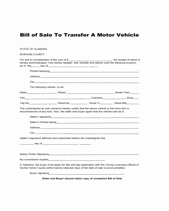 Bill Of Sale for Car In Alabama Unique Bill Of Sale to Transfer A Motor Vehicle Alabama Edit