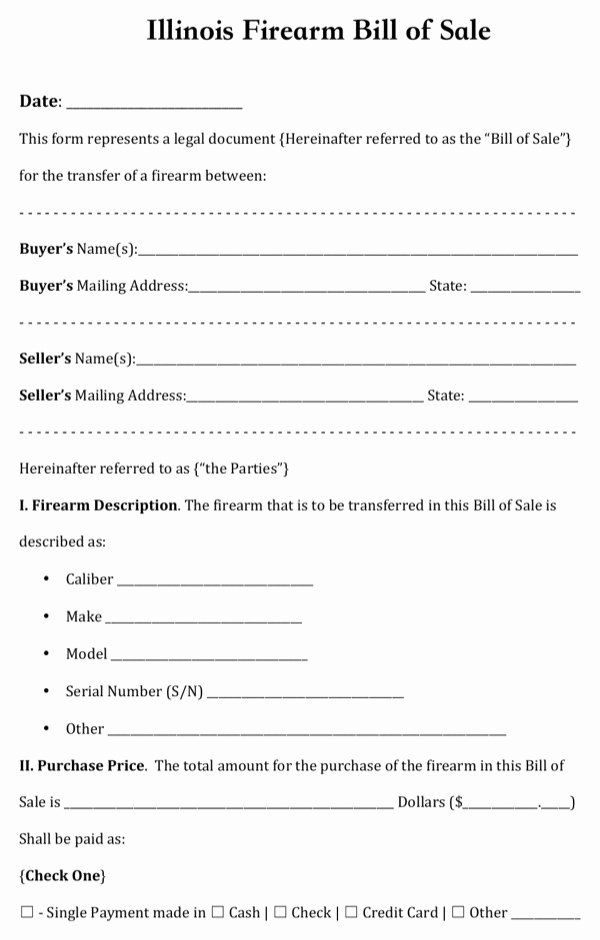 Bill Of Sale for Gun Florida Lovely Download Illinois Firearm Bill Of Sale for Free formtemplate