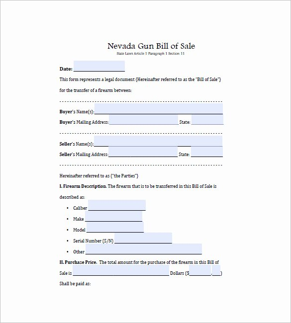 Bill Of Sale for Gun Florida Lovely Gun Bill Of Sale Template – 10 Free Word Excel Pdf