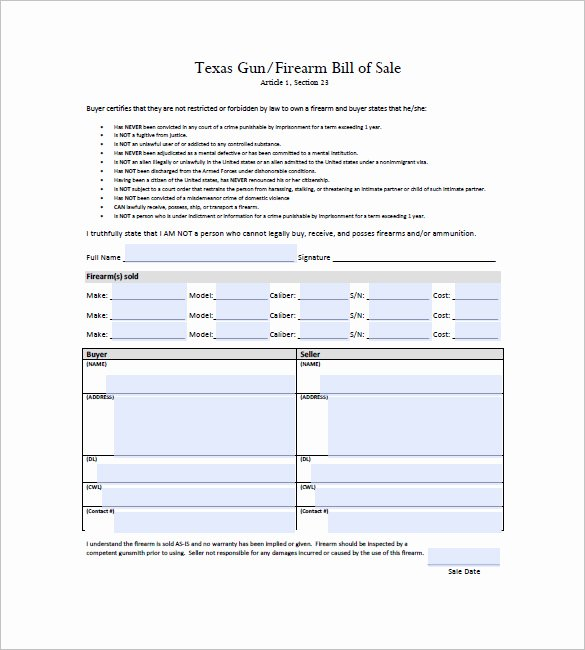 Bill Of Sale for Gun Florida Luxury 23 Bill Sale Template Gift