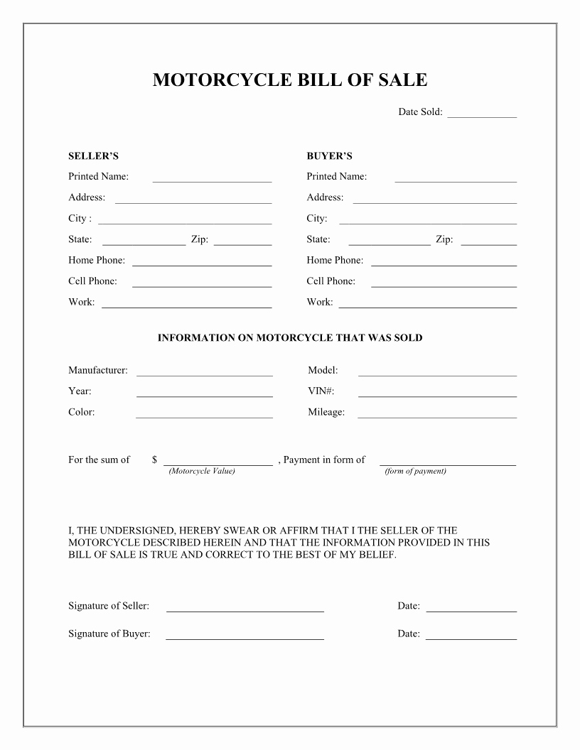 Bill Of Sale Motorcycle Pdf Best Of Free Motorcycle Bill Of Sale form Download Pdf