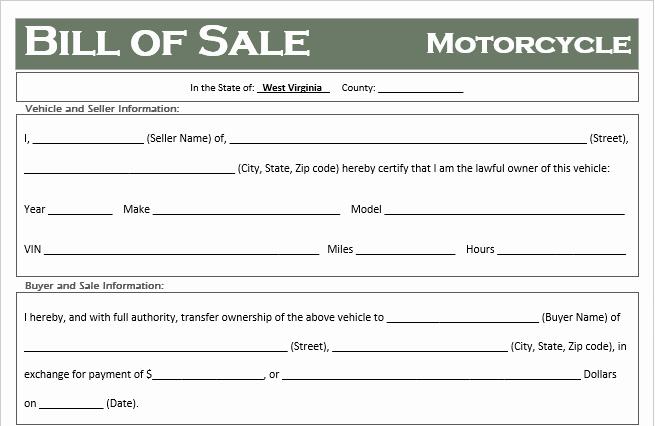 free west virginia motorcycle bill of sale template