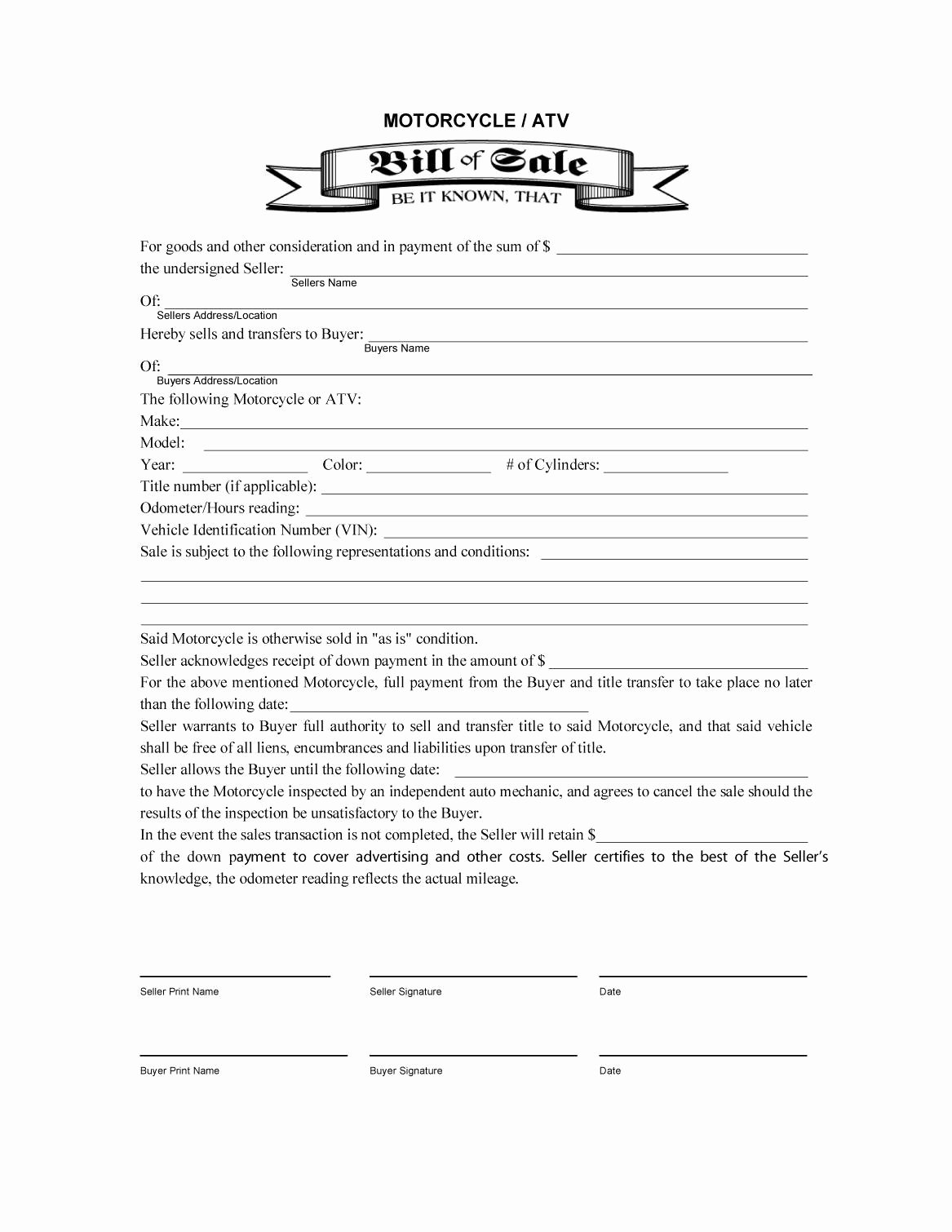 Bill Of Sale Motorcycle Pdf Elegant 45 Fee Printable Bill Of Sale Templates Car Boat Gun