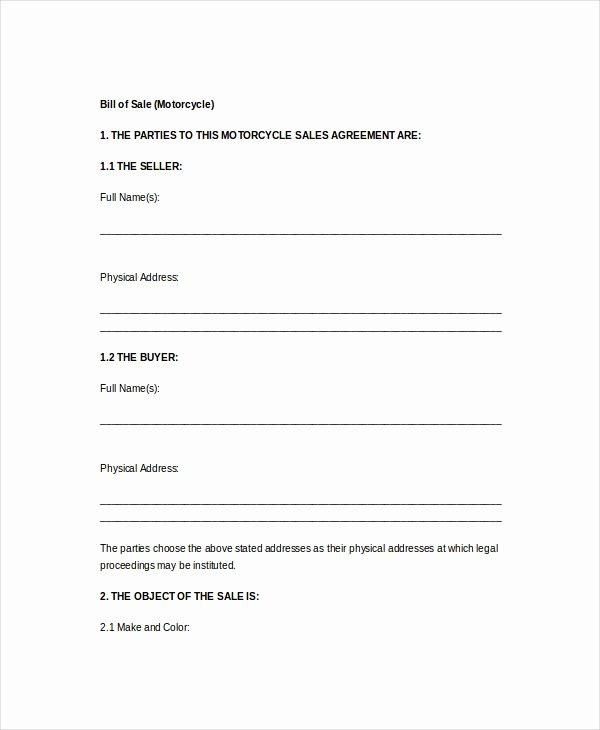 Bill Of Sale Motorcycle Pdf Lovely Vehicle Bill Of Sale Template 14 Free Word Pdf