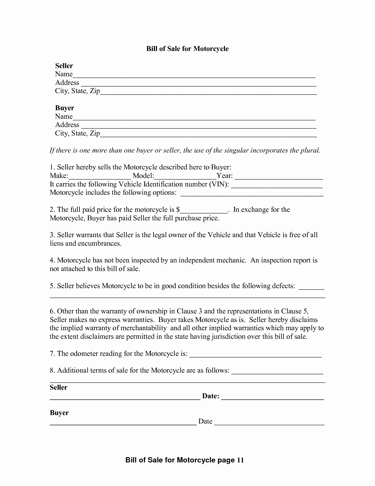 Bill Of Sale Motorcycle Pdf Luxury Free Printable Motorcycle Bill Of Sale form Generic