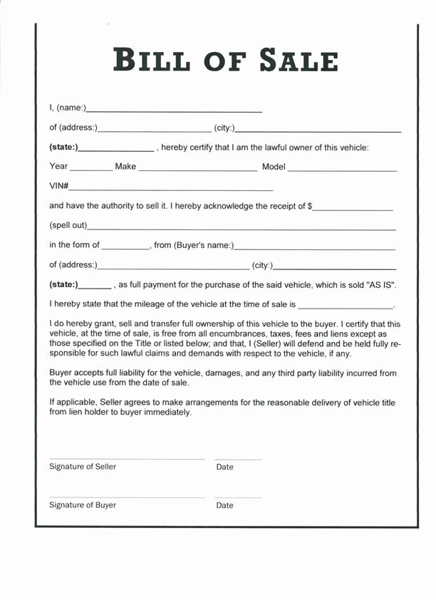 Bill Of Sale Of A Vehicle Awesome Download Bill Sale form Pdf