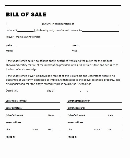 Bill Of Sale Of A Vehicle Beautiful Free Printable Car Bill Of Sale form Generic