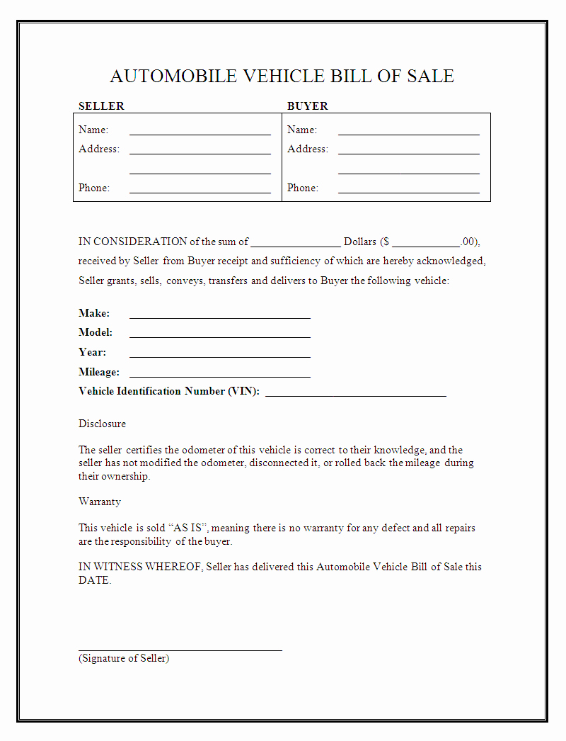Bill Of Sale Of A Vehicle Best Of Free Printable Vehicle Bill Of Sale Template form Generic