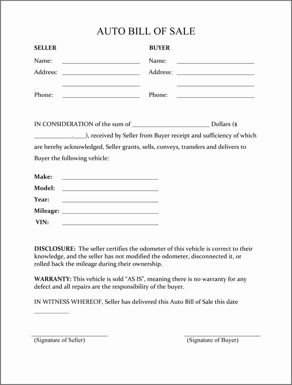 Bill Of Sale Of A Vehicle Fresh Free Printable Vehicle Bill Of Sale Template form Generic