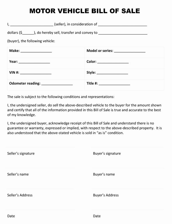 Bill Of Sale Of A Vehicle Fresh Motor Vehicle Bill Sale form In 2019