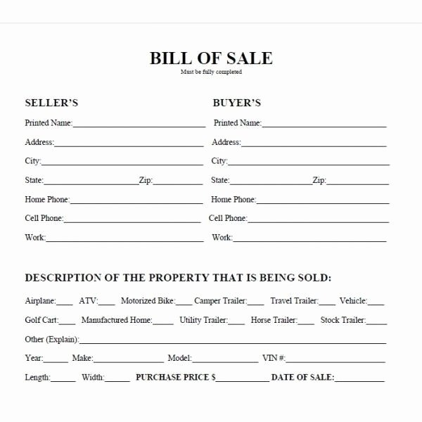 Bill Of Sale Of A Vehicle Fresh Printable Car Bill Of Sale Pdf