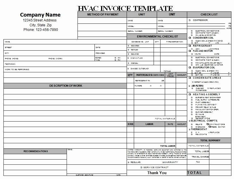 Bill Proposal Example Beautiful Hvac Repair Invoice Download
