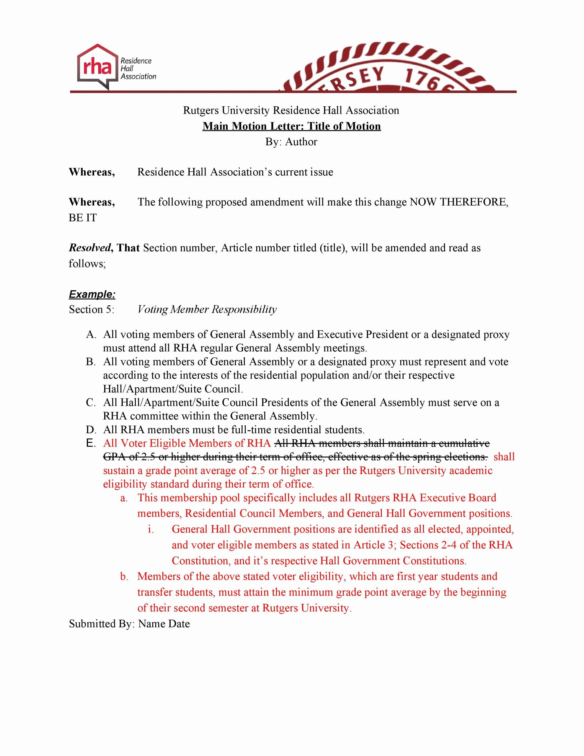Bill Proposal Example Best Of Legislation Template – Residence Hall association