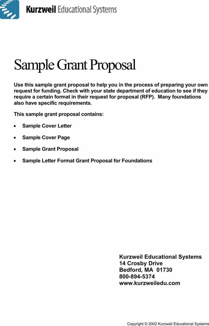 Bill Proposal Example New Free Sample Grant Proposal Pdf 334kb
