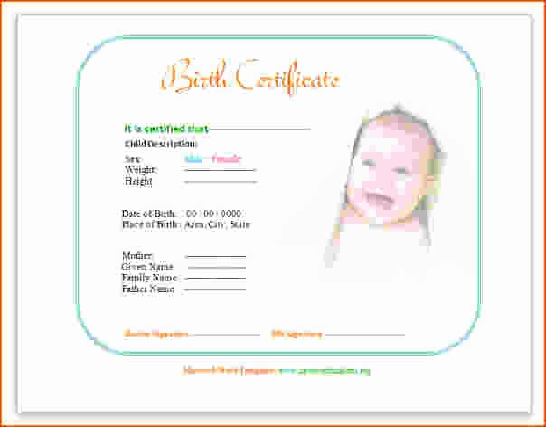 Birth Certificate Template for Microsoft Word Elegant 7 Birth Certificate Template for Microsoft Word