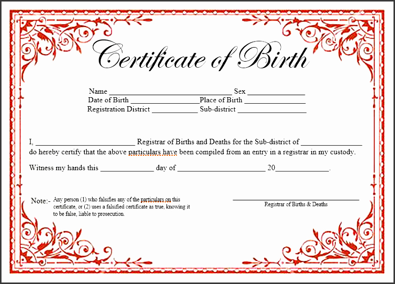 Birth Certificate Template for Microsoft Word Unique 7 Ms Word Birth Certificate Template Sampletemplatess