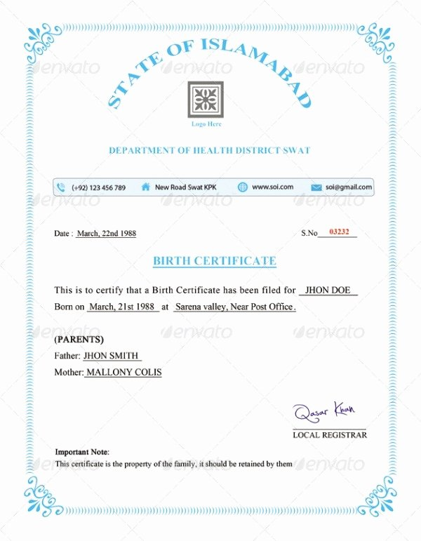 Birth Certificate Template Google Docs New 5 Ficial Birth Certificate Template Ai Psd Indesign