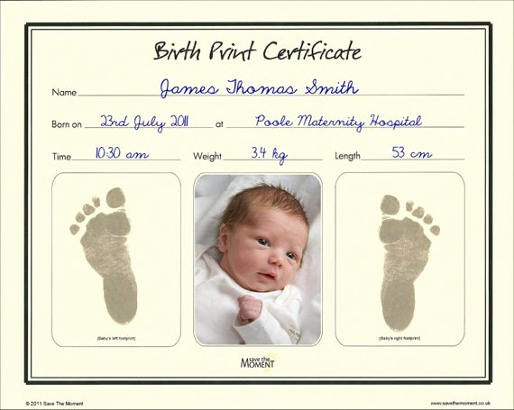 Birth Certificate Template Google Docs New Baby Birth Print Certificate Inkless Foot Print Keepsake
