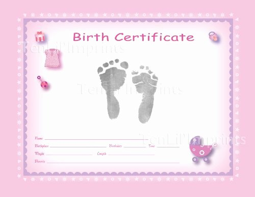 Birth Certificate Template with Footprints Awesome Birth Certificate Blank Printable