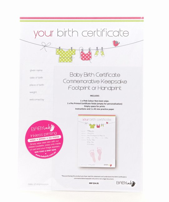 Birth Certificate Template with Footprints Inspirational Pink Birth Certificate with Baby Ink Hand and Footprint