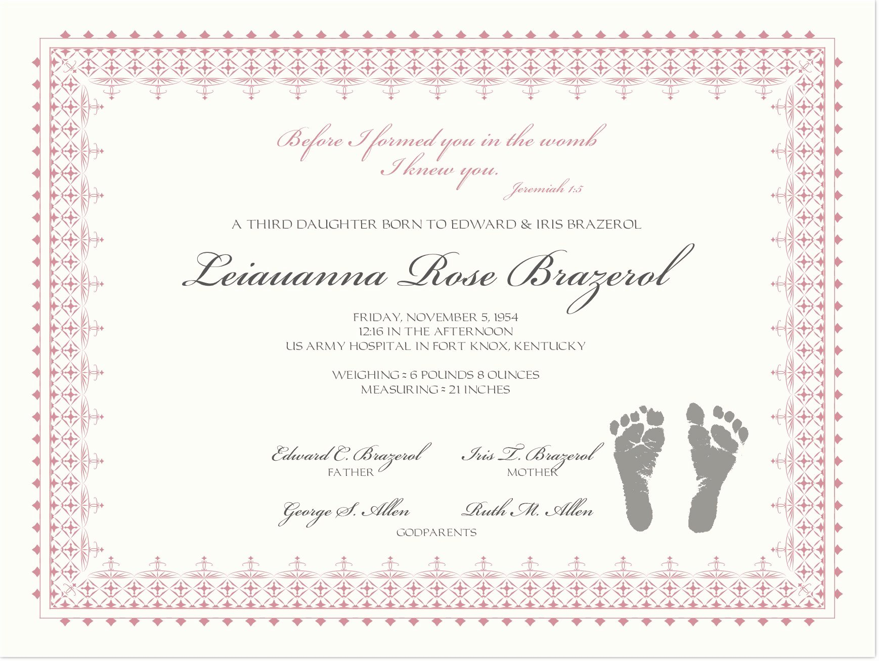 Birth Certificate Template with Footprints Luxury Birth Certificate with Baby Footprints