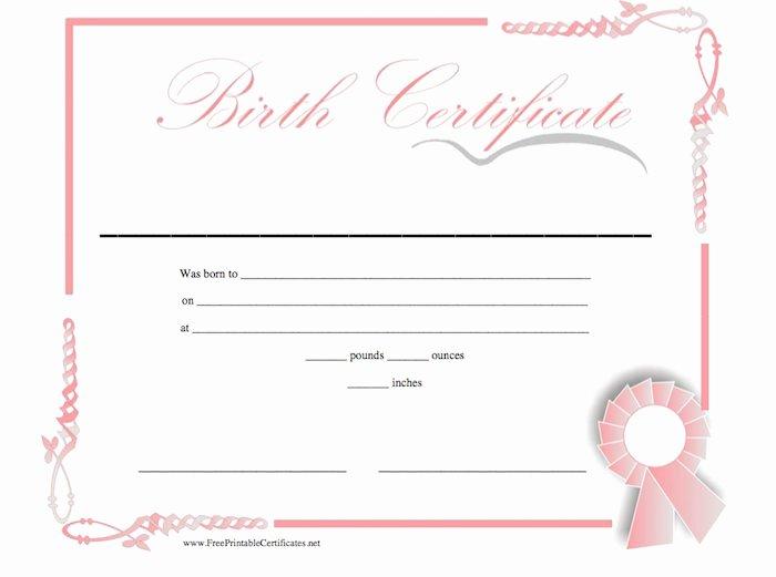Birth Certificate Templates Free Printable Inspirational 15 Birth Certificate Templates Word & Pdf Free