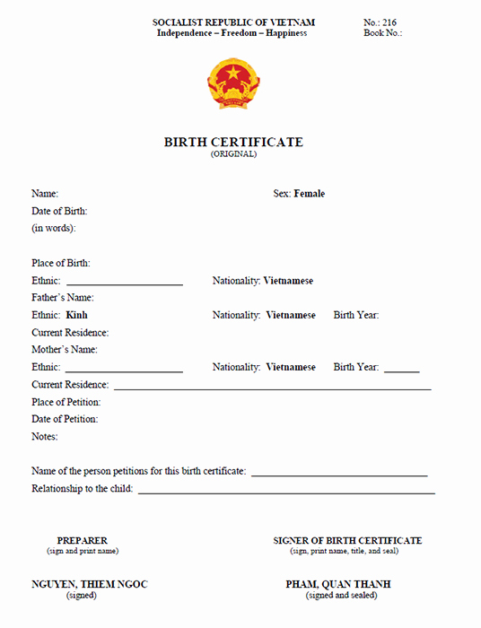 Birth Certificate Translation From Spanish to English Template Best Of Vietnamese Birth Certificate Translation Sample Vietnam