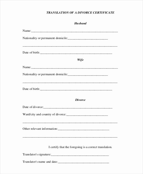 Birth Certificate Translation From Spanish to English Template Inspirational Divorce Certificate Template 8 Free Word Pdf Document