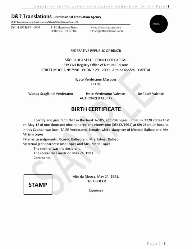 Birth Certificate Translation Template Beautiful Translation Samples D&t Translations