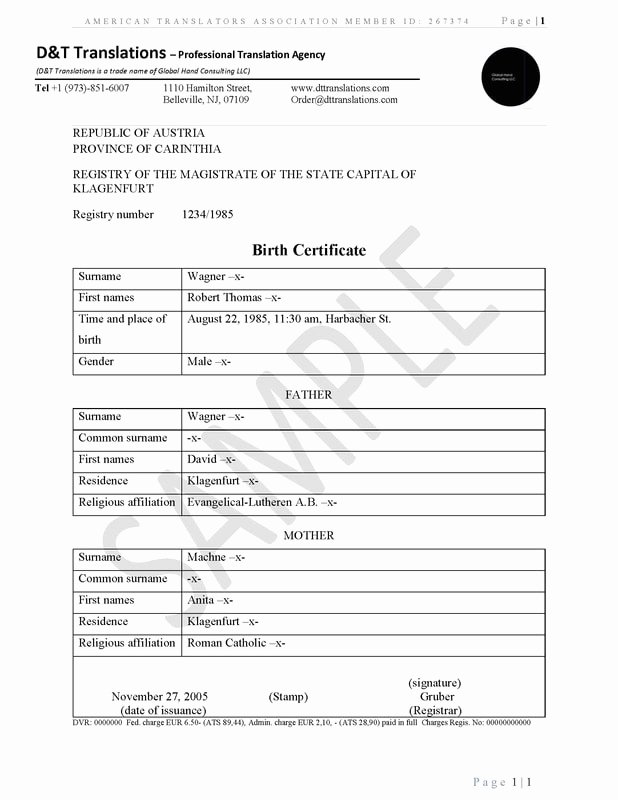Birth Certificate Translation Template Unique Translation Samples D&t Translations
