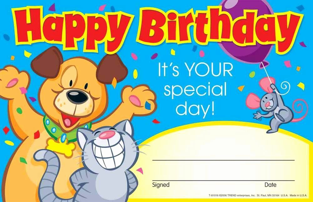 Birthday Certificate for Kids Awesome 30 Kids Happy Birthday Its Your Special Day Award